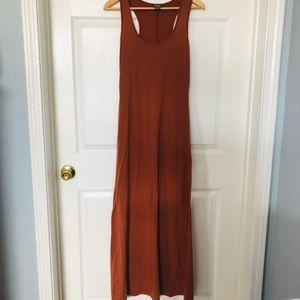 Rust Orange Racerback Maxi Dress